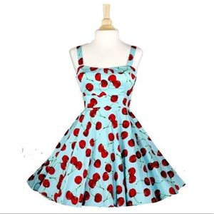 ModCloth Xia Wild Cherry Dress Aqua Retro Pinup S